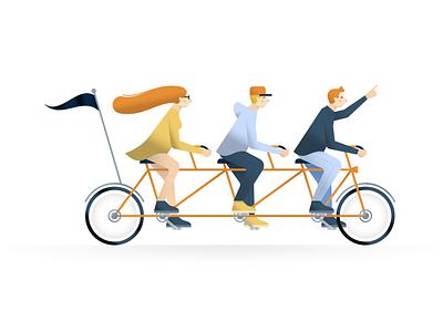 Recruitment Illustration minimal character branding flat art 2d tandem bike team bike design illustrations illustrator