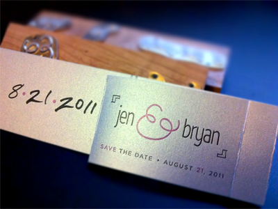 Save-the-Dates letterpress wedding handwritten gotham wasabi finished save the date