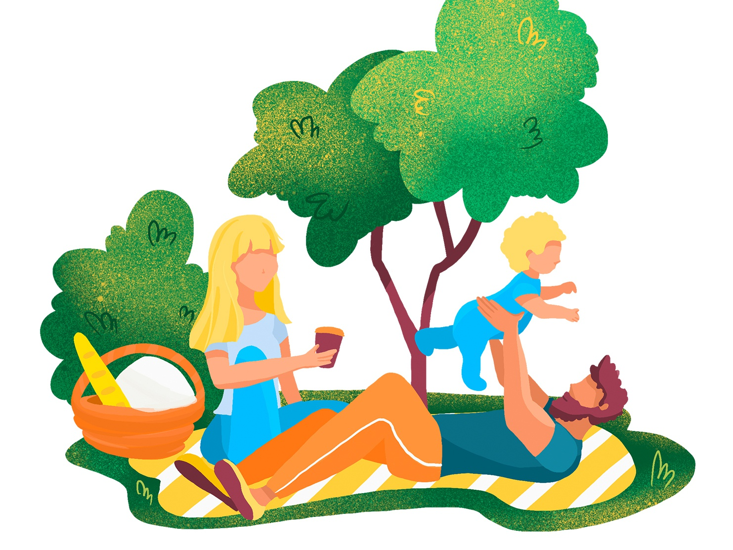 family day in the park gif animated gif relaxing relax facebook picnic dad mama park family girl boy flat ipad procreate design illustration animation