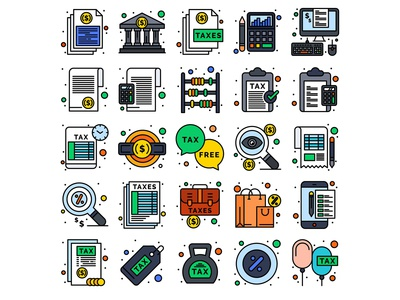 Taxes Finance Related Concept Icon set