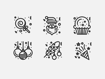 Merry Christmas new year 2020 Line Icons