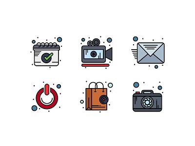 Multimedia Flat Filled Line Icons vector icon bag photographer shopping bag shutdown email video camera calendar camera