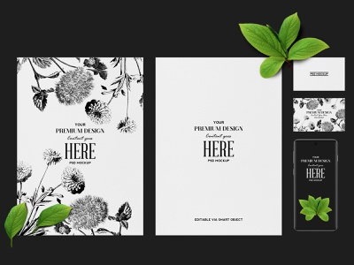 No. 1 - Stacionery Mockup with a Phone stationery designs psd mockup psd readymade white floral business display branding phone paper texture mockup logo fresh pop green mint