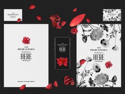 No. 4 - Stationery Mockup with a Phone stationery easy to use readymade smartobject businesscard sharp crisp contrast red floral texture paper phone mockup psd