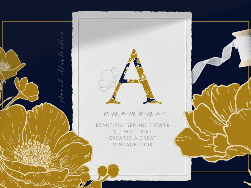 Anemone Flower Illustration, Pattern&Alphabets Letters Clipart pattern alphabet typography cliparts graphics floral flower frame vintage anemone boutique drawing wedding vector handrawn line art illustrator illustration logo icon clipart