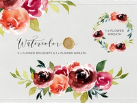 Watercolor Floral Bouquet and Flower Wreath Clipart