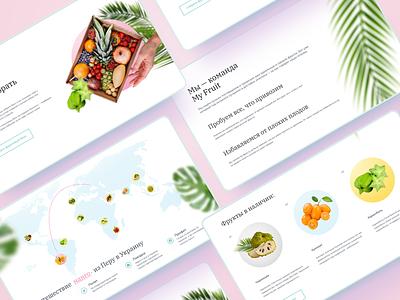 First screen for «Myfruit» landing page ux uiuxdesigner uiux uidesign ui mango light healthy green fruits desktop clear design clear