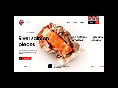 Danwer seafood site design landing ui light clear uiux uiuxdesigner uidesign desktop fish catering delivery seafood