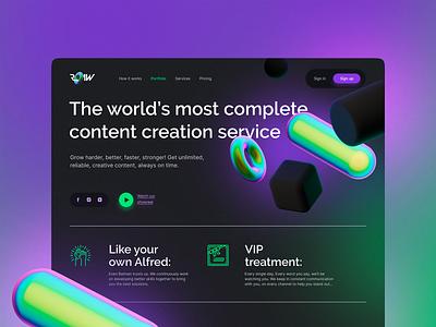 Content creation service site design vibrant colors 3d vibrant gradient illustration ui landing design clear ux uiux uiuxdesigner uidesign desktop