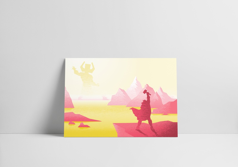 Tribute to Marvel Comics: Thor vs Galactus vector drawing texture colorful scene science fiction landscape marvel illustration