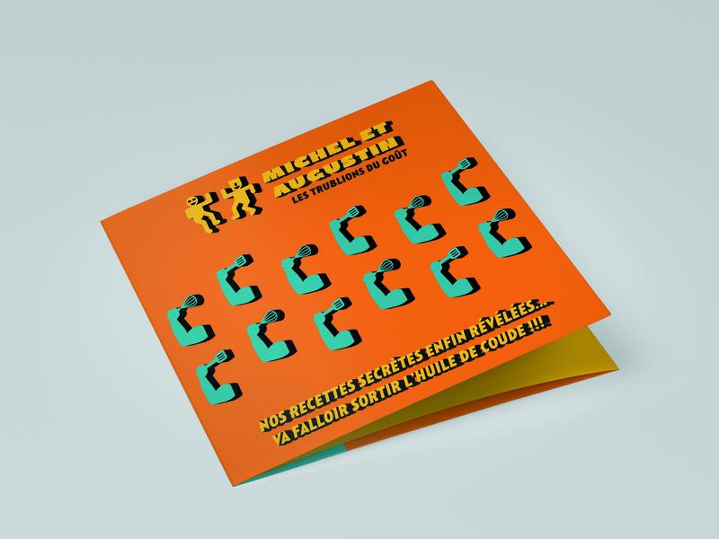 Michel et Augustin tri-fold brochure colorful editorial trifold tri-fold leaflet flyer brochure