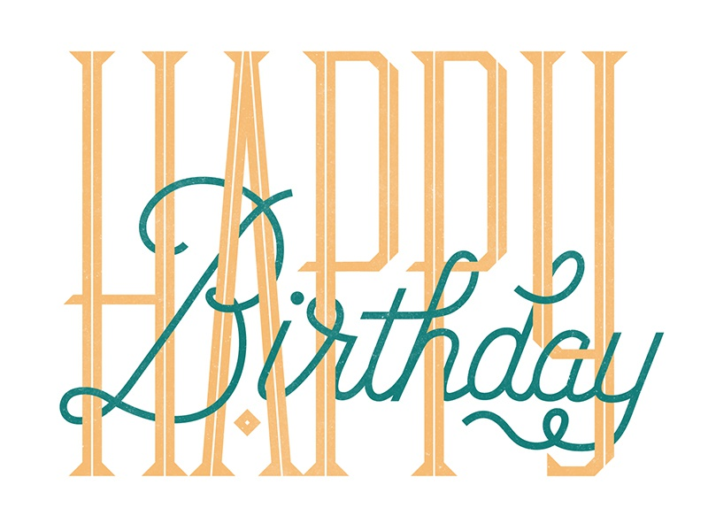Bday Card script custom typography birthday card greeting