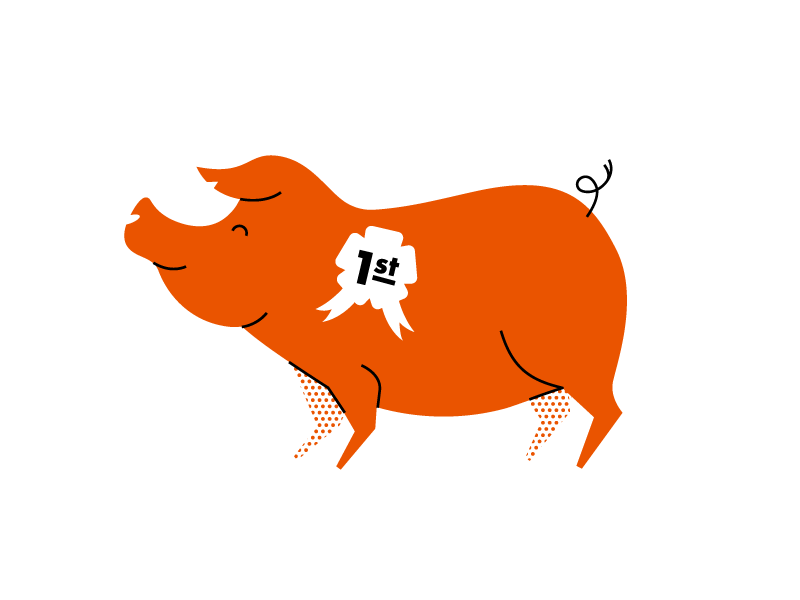 Piggy bacon pork pig lines illustration animal
