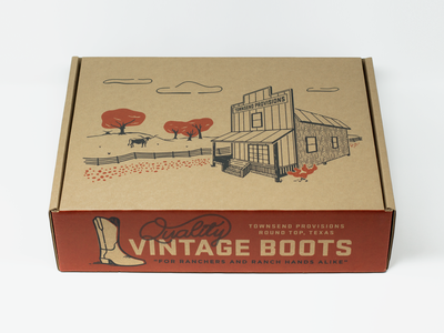 Vintage Boot Box cowboy boots cow western script typography illustration