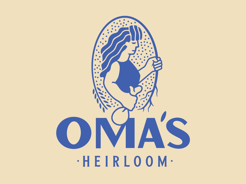 Oma's Heirloom heirloom grain heritage seeds type typography logo illustration