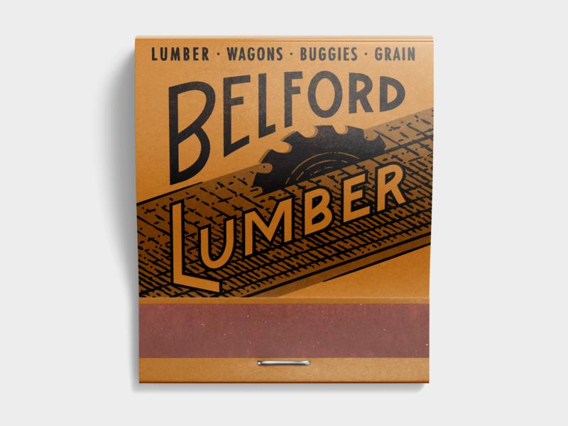 Belford Lumber texas georgetown sawmill woodworking lumber matchbook type illustration