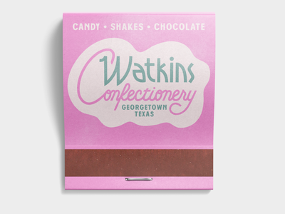 Watkins Confectionery texas chocolate shakes candy matchbook branding type script logo typography
