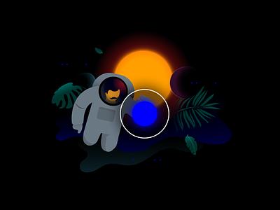 "km redesign –  ""UI/UX Realisation"" service dark ui dark sun plants mustache sci-fi future astro realization ux website astronaut web circle app creative agency ui illustration"
