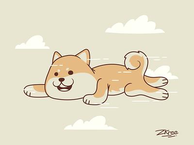 To the sky dog shiba logo retro design vector illustration
