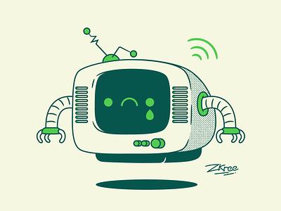 Sad TV bot tv sad design retro vector illustration