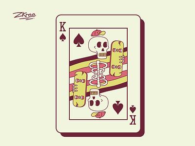 King poker king card logo vector retro illustration design