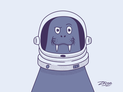 Amazed walrus astronaut helm walrus logo vector retro illustration design