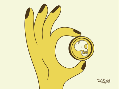 Deadly coin skull hand coin retro illustration design vector