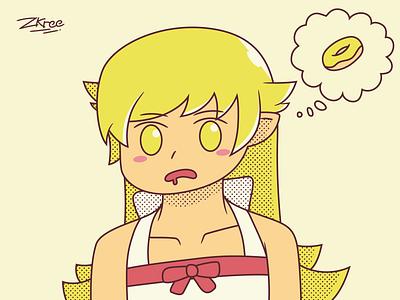 Donuts!? donut anime vector retro illustration design