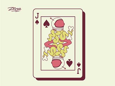 Jack tentacles helmet poker card vector retro illustration design