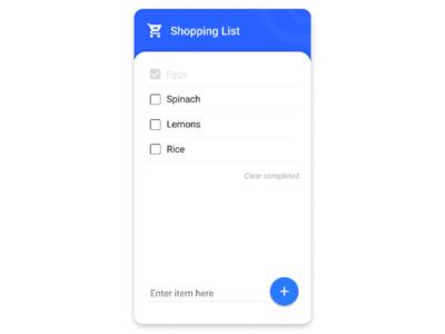 Shopping list application