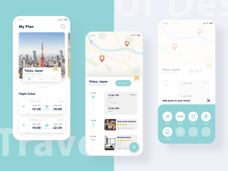 Travel Planner travel planner app combined spots hotels flights travel planner travel ui design interface design application app