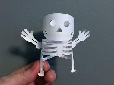 Day 15 skeleton the100dayproject paperengineering toy papertoy creature papercraft paper monsters