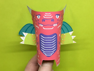 Day 25 dragon the100dayproject paperengineering toy papertoy creature papercraft paper monsters