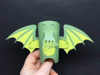 Day 29 cthulhu the100dayproject paperengineering toy papertoy creature papercraft paper monsters
