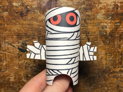 Day 31 mummy the100dayproject paperengineering toy papertoy creature papercraft paper monsters