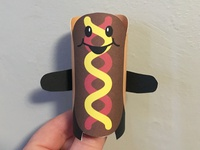 Day 33 hotdog the100dayproject paperengineering toy papertoy creature papercraft paper monsters