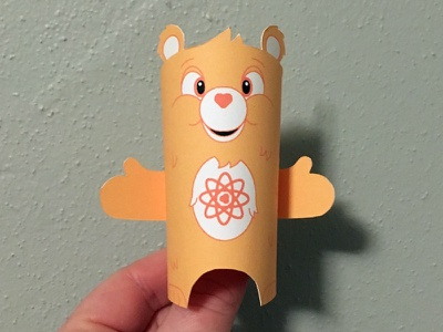 Day 34 carebear the100dayproject paperengineering toy papertoy creature papercraft paper monsters