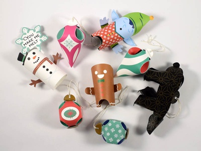 Christmas Crew 2018 ornaments snowman gingerbread elf paper engineering illustration papertoy toy papercraft