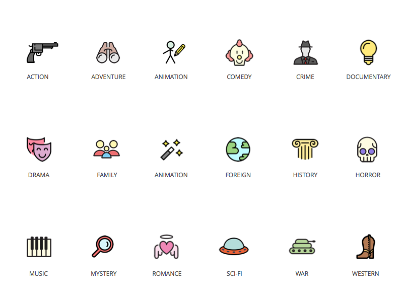 Movie Genre Icons By Jay Clark Dribbble Dribbble