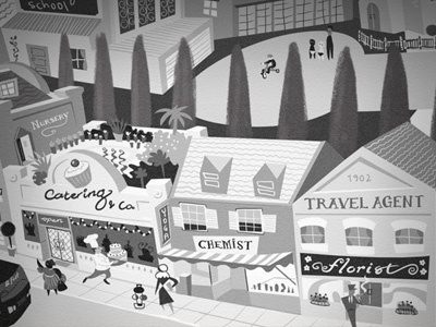 Bobs Style street shops black white classical illustration