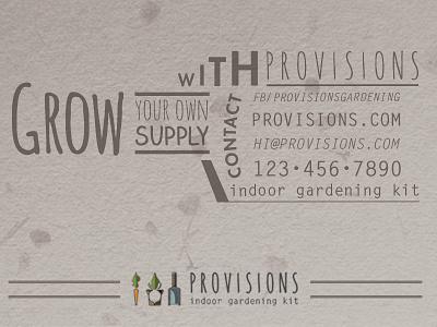 Provisions Business Card organic illustration garden plant seed provisions business card design