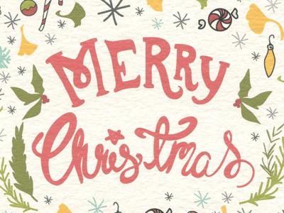 Merry Christmas christmas card design organic holiday handlettering typography illustration