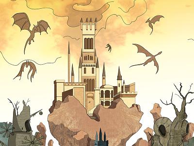 The Dragon Shrine bonfire dark souls dark souls illustration video game art concept fan art dragon shrine castle architecture