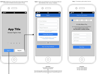 Onboarding wireframe study