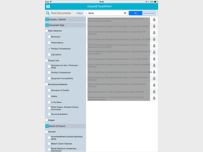 Faceted Browsing Feature for TouchPoint Tablet App
