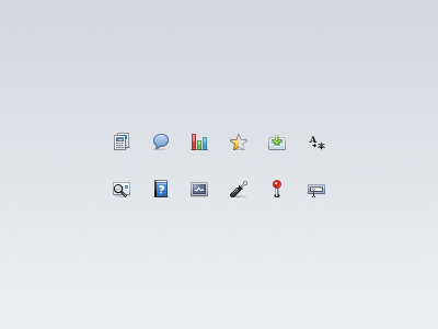 Web app icons templates livechat bargraph star inbox languages mailparser knowledgebase diagnostics screwdriver geoip customfield 16px icons