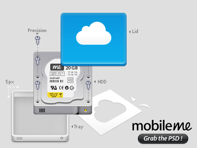 iDisk Exploded View idisk mobileme exploded view icon icons psd