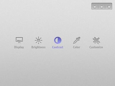 Chrome and Code display brightness contrast color customize imac sun eye dropper wrench spraycan locks