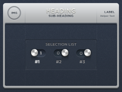 Selection List UI Frame toggles frame ui gratuitous depth heading sub-heading