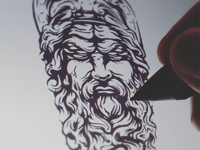 work in progress poseidon zeus illustration inking